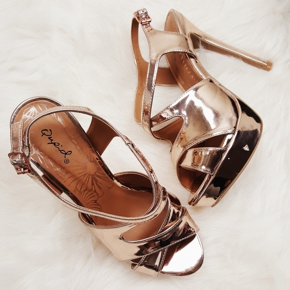 77d31e80210 Qupid Rose Gold Platform Heels